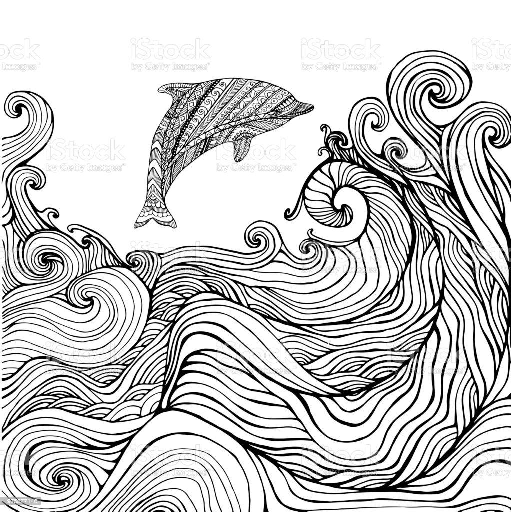 Ilustración De Olas De Mar Y Delfines Página Para Colorear Para