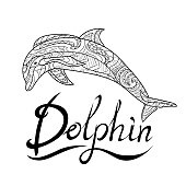 Dolphin, animal world, coloring page, coloring book, pattern, line, black and white pattern for relaxation
