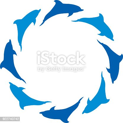 Dolphin Circle Frame Stock Vector Art & More Images of Animal ...
