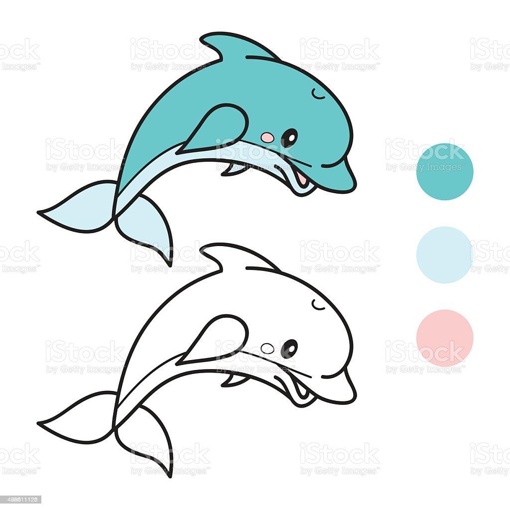 Dolphin Libro Para Colorear Página Ilustración Vectorial De Dibujos ...