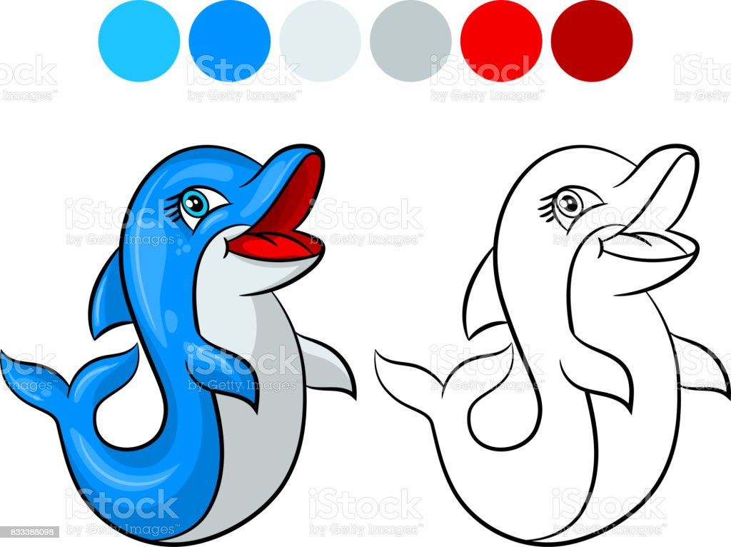 Dolphin Coloring Book Stock Vector Art & More Images of Alphabet ...