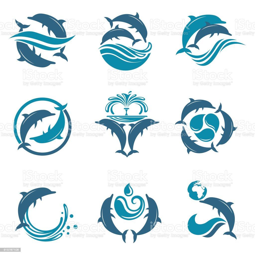 dolphin emblem set
