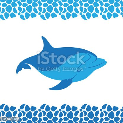 Dolphin Icon Frame Pattern From Sea Pebbles Stock Vector Art & More ...