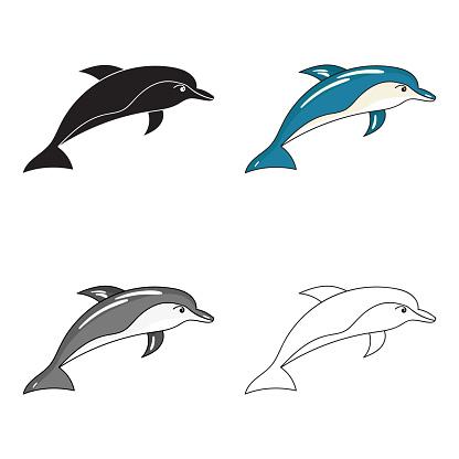 Dolphinikonen I Tecknad Stil Isolerad På Vit Bakgrund Havslevande Djur Symbolen Lager Vektor Web Illustration-vektorgrafik och fler bilder på Akvarium - Byggnad för djur i fångenskap