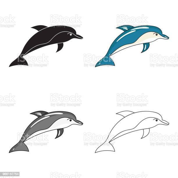 Icona Del Delfino In Stile Cartone Animato Isolata Su Sfondo Bianco Gli Animali Marini Simboleggiano Lillustrazione Web Vettoriale Stock - Immagini vettoriali stock e altre immagini di Acqua