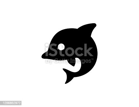 istock Dolphin icon. Isolated dolphin silhouette symbol - Vector 1256852972