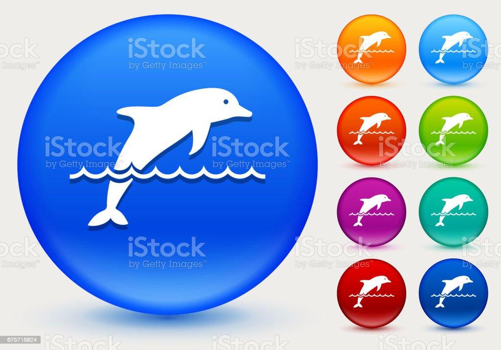 閃亮的彩色圓圈按鈕上海豚圖示 免版稅 閃亮的彩色圓圈按鈕上海豚圖示 向量插圖及更多 哺乳動物 圖片