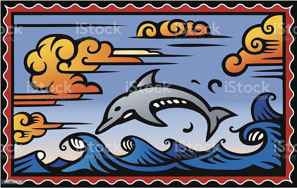 Dolphin in Sea vector art illustration