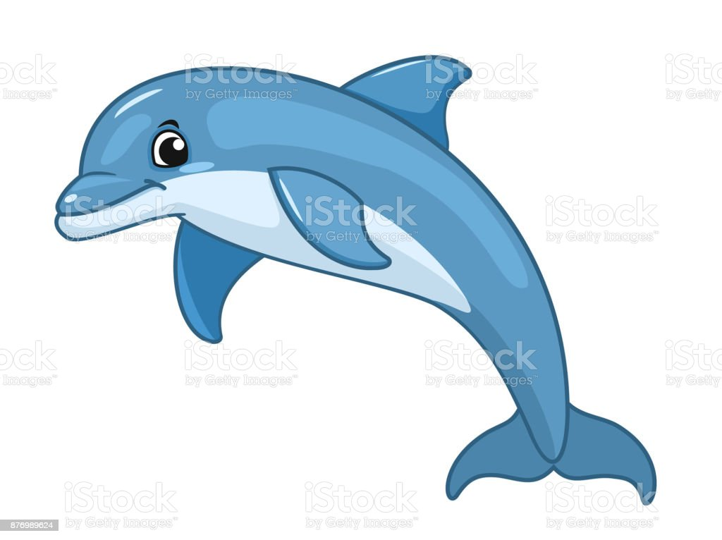 Dolphin isolated on white background. Vector illustration.