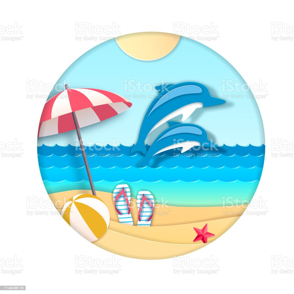Dolphin jumping out of the water on beach background. Cut out paper...