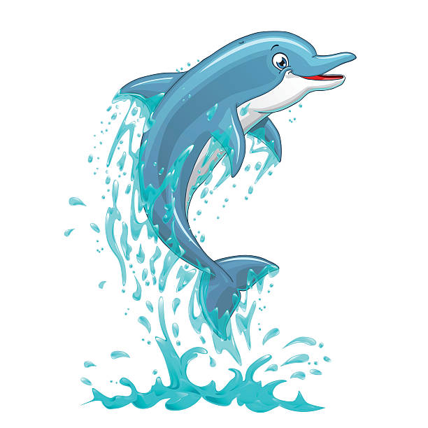 dolphin jumps in water splashes on white - dolphin stock illustrations