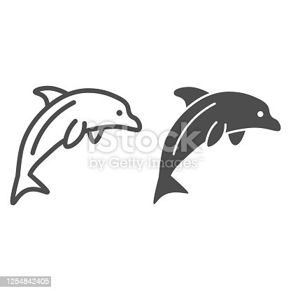 istock Dolphin line and solid icon, ocean concept, Dolphin sea animal sign on white background, one jumping dolphin icon in outline style for mobile concept and web design. Vector graphics. 1254842405