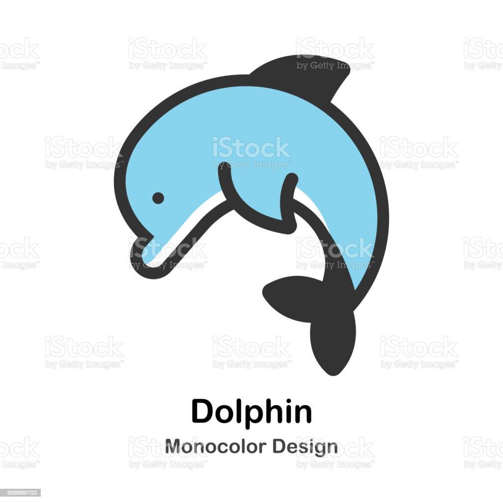 Dolphin Mono-color Illustration