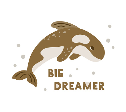 Dolphin or brown killer whale character with lettering Big dreamer.