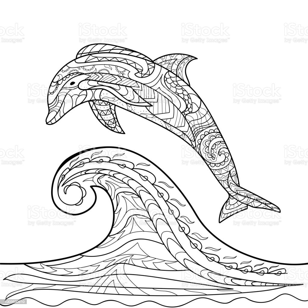 Delphin Muster Coloring Book Malvorlagen Vektor Für Kinder