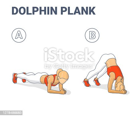 Dolphin Plank Female Home Workout Exercise Guide Illustration. Colorful Concept of Girl Working at Home on Her Triceps a Young Woman in Sportswear Top, Sneakers, and White Leggings Doing in Two Stages