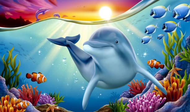 Dolphin playing at coral reef Charming dolphin playing at coral reef underwater with other dolphins breaching and dreaming sunset hanging above water surface, 3d illustration dolphin stock illustrations