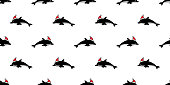dolphin Seamless pattern Christmas hat vector Santa Claus fish shark doodle cartoon salmon whale wave ocean sea scarf isolated repeat wallpaper tile background illustration design