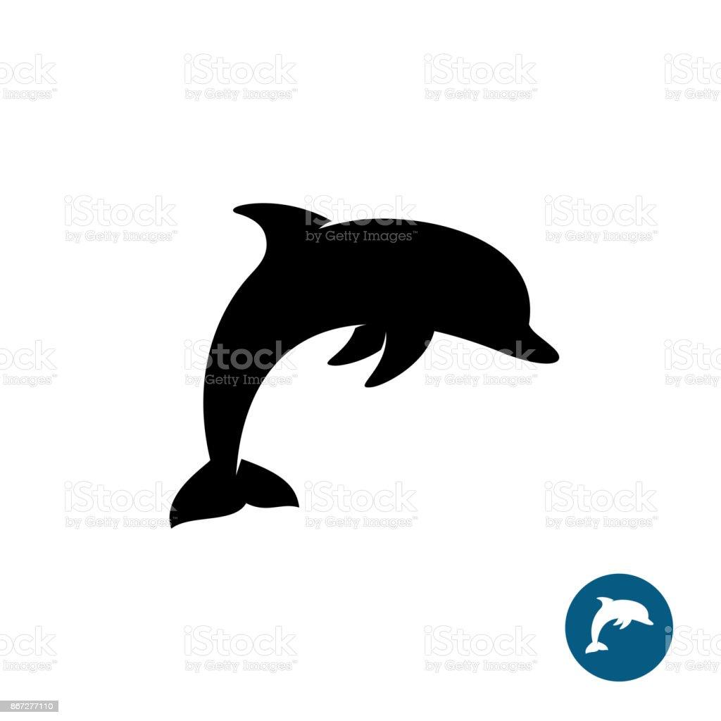 Dolphin simple black silhouette symbol. Sea freedom symbol.
