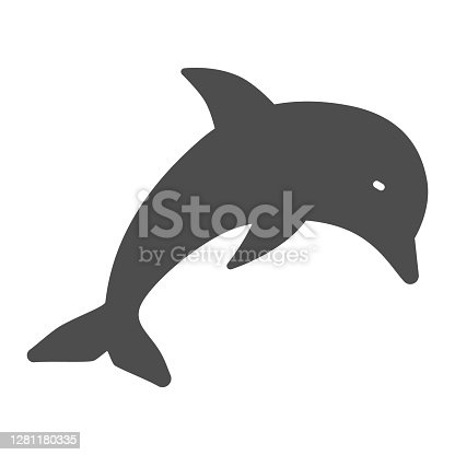 istock Dolphin solid icon, marine life concept, underwater world sign on white background, jumping dolphin icon in glyph style for mobile concept and web design. Vector graphics. 1281180335