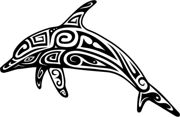 イルカのタトゥー形 - マリンのタトゥー点のイラスト素材/クリップアート素材/マンガ素材/アイコン素材