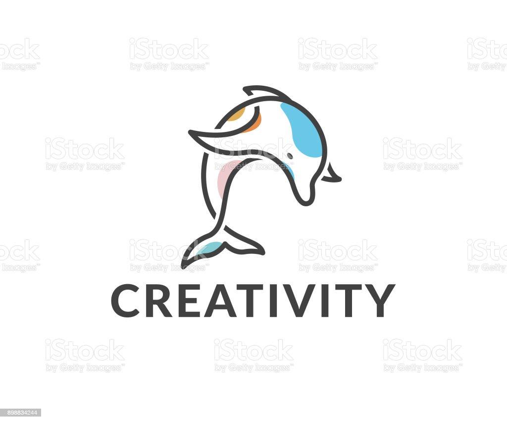 dolphin vector icon vector art illustration