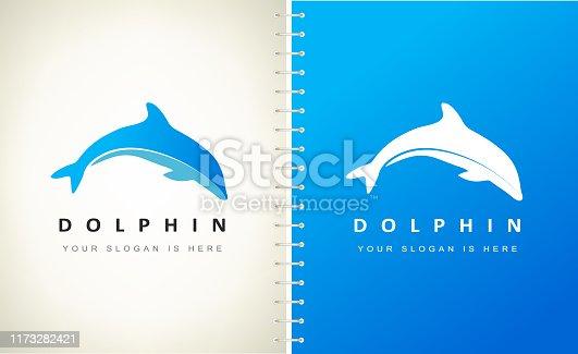 Dolphin vector. Underwater animal.
