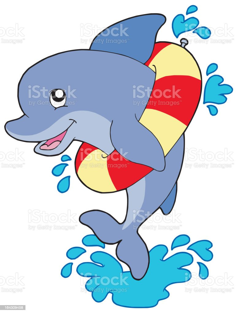 Dolphin with inflatable ring royalty-free stock vector art