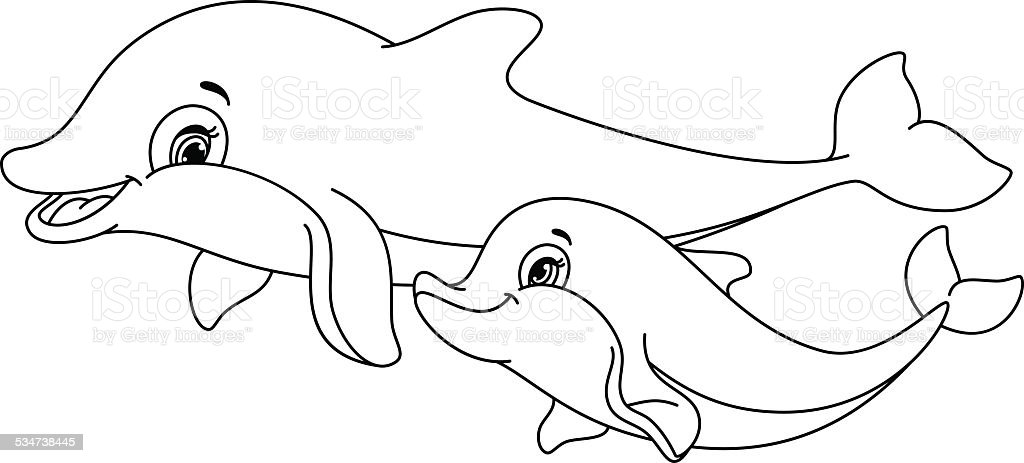 dolphins coloring page royalty free stock vector art - Dolphins Coloring Pages