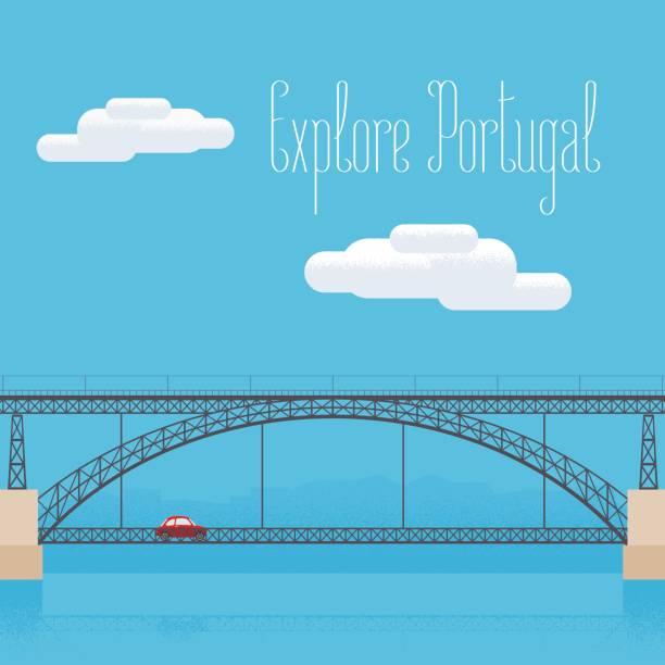 ilustrações de stock, clip art, desenhos animados e ícones de dom luis bridge in porto, portugal vector illustration - douro