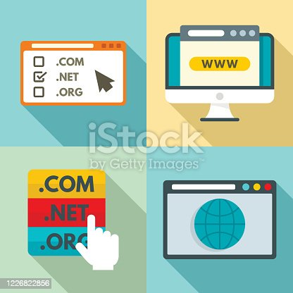 Domain icons set. Flat set of domain vector icons for web design