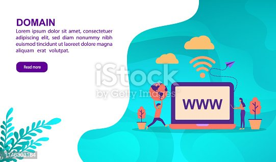 Domain illustration concept with character. Template for, banner, presentation, social media, poster, advertising, promotion