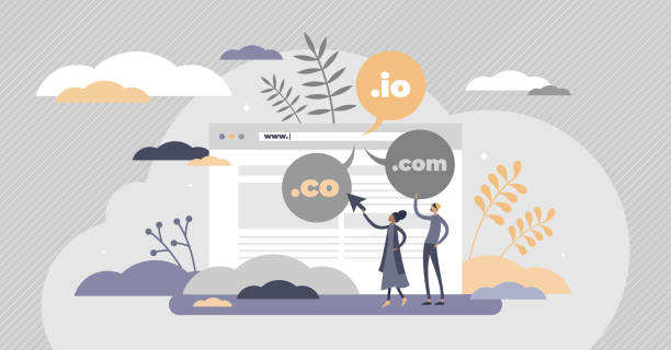 Domain name as web server website address extension flat tiny person concept vector art illustration