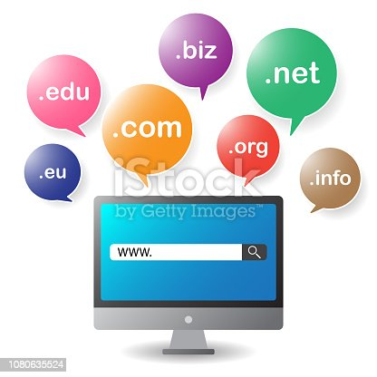 Domain or sub-domain for registration internet website bubbles concept cartoon vector, illustration. Computer and bubble icons on white background.