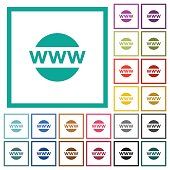 Domain name flat color icons with quadrant frames