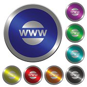 Domain name luminous coin-like round color buttons