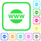 Domain name vivid colored flat icons icons