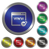 Domain registration luminous coin-like round color buttons