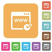 Domain registration rounded square flat icons