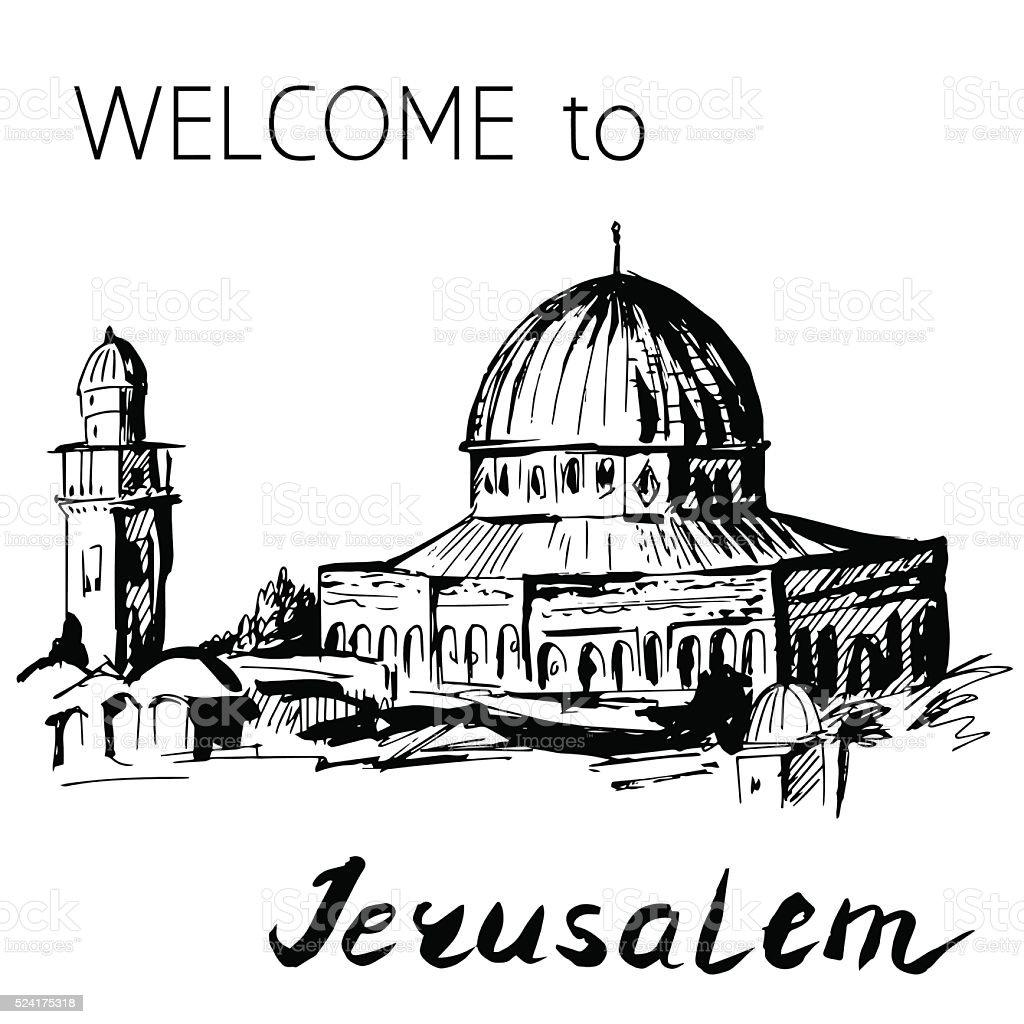 Dome of Rock Temple Mount Jerusalem vector art illustration