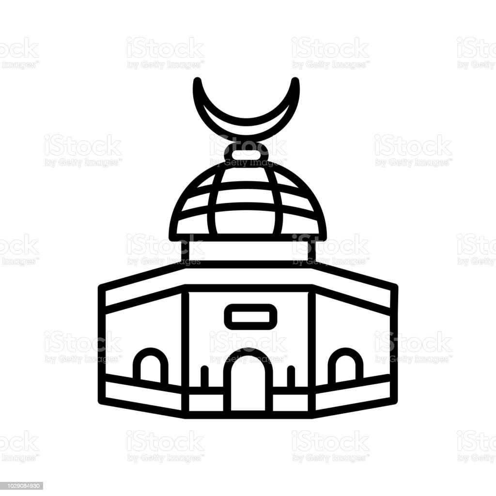 Dome of the Rock icon vector isolated on white background, Dome of the Rock sign , line or linear sign, element design in outline style vector art illustration