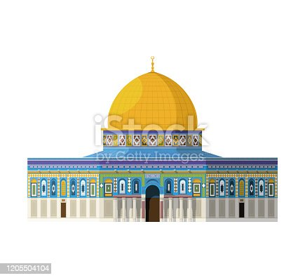 istock Dome of the Rock (Jerusalem). Isolated on white background vector illustration. 1205504104