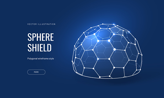 Dome shield geometric vector illustration on a blue background. Geometric translucent shield futuristic for protection in an abstract glowing style