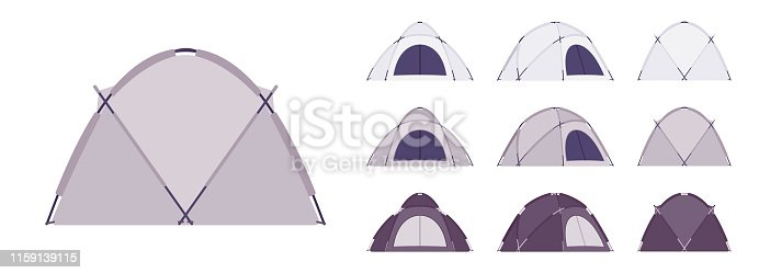 Dome tent set. Outdoor active sport and camping, sun shelter for travel, fishing or picnic equipment. Vector flat style cartoon illustration isolated on white background, different views and color