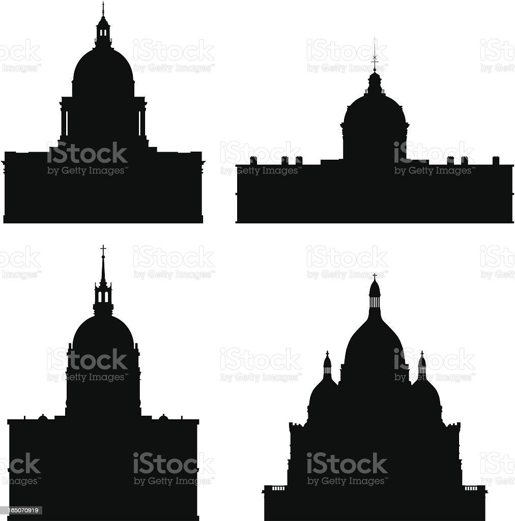 Domes of Paris royalty-free stock vector art