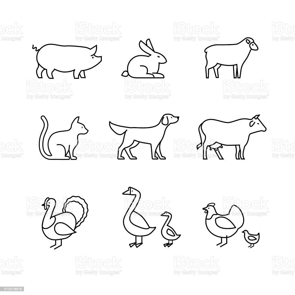 Vector Line Art Animals : Inländische und farmtiere dünne linie kunst symbole satz