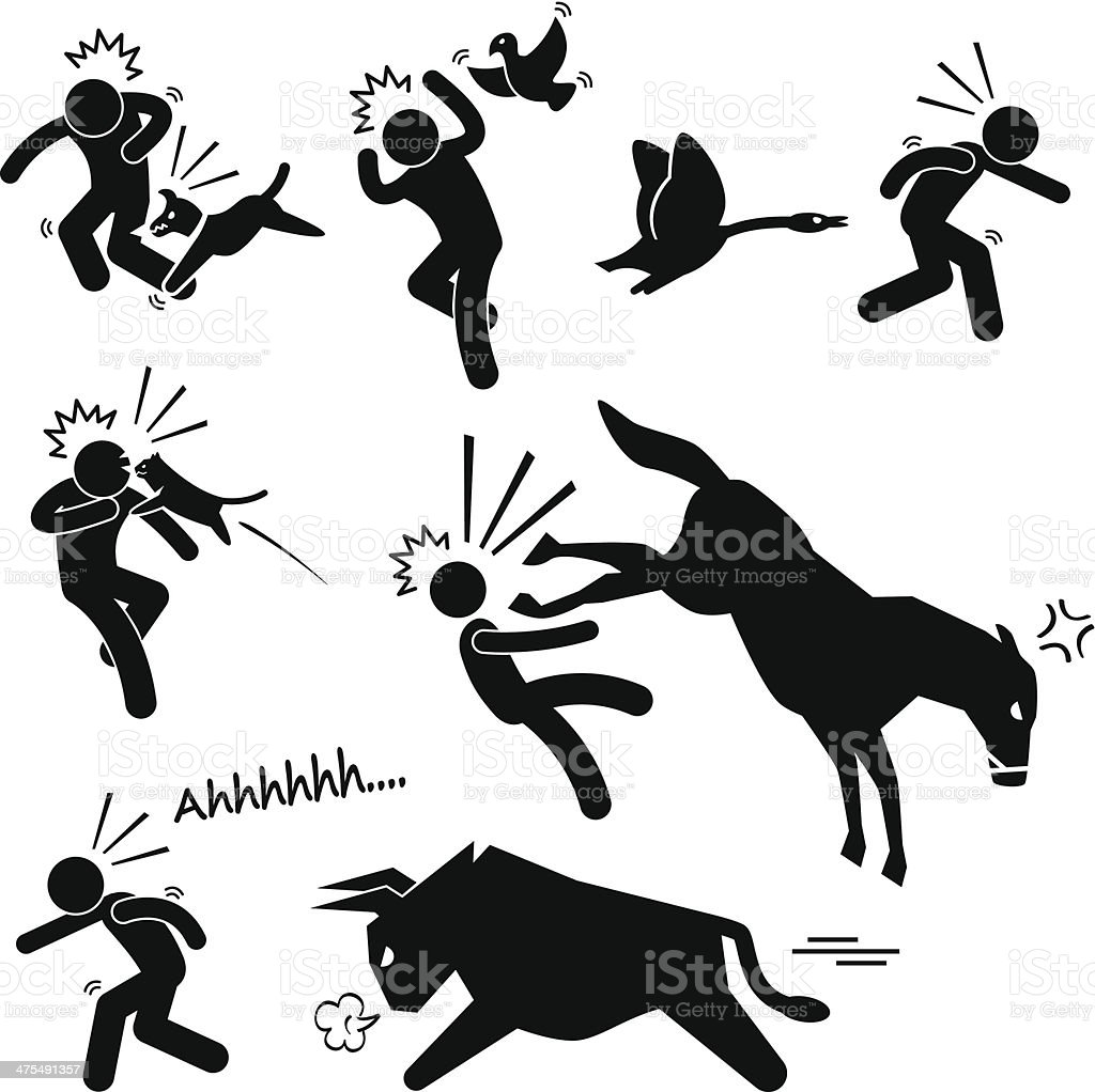 Domestic Animal Attacking Hurting Human Stick Figure Pictogram Icon vector art illustration