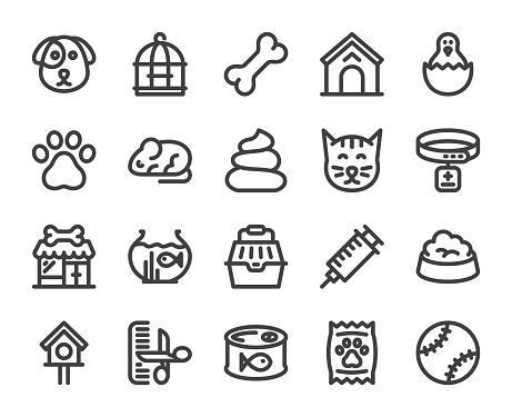 Domestic Animals - Bold Line Icons