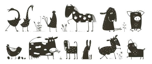ilustrações, clipart, desenhos animados e ícones de coleção de animais domésticos - animais da fazenda