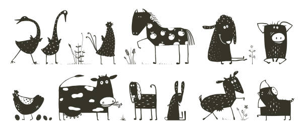 Domestic Animals Collection vector art illustration